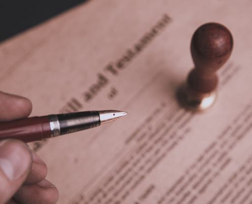 Last will and testament and a pen