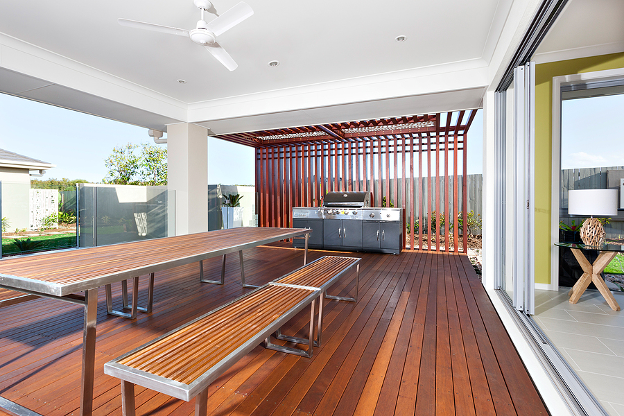 Bamboo decking, table and benches