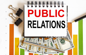 Public Relations text in a notebook