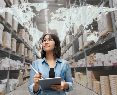 Woman working inside a 3PL warehouse